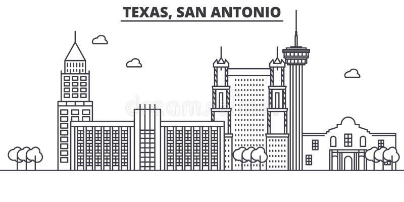 Απεικόνιση οριζόντων γραμμών αρχιτεκτονικής του Τέξας San Antonio Γραμμική διανυσματική εικονική παράσταση πόλης με τα διάσημα ορ διανυσματική απεικόνιση