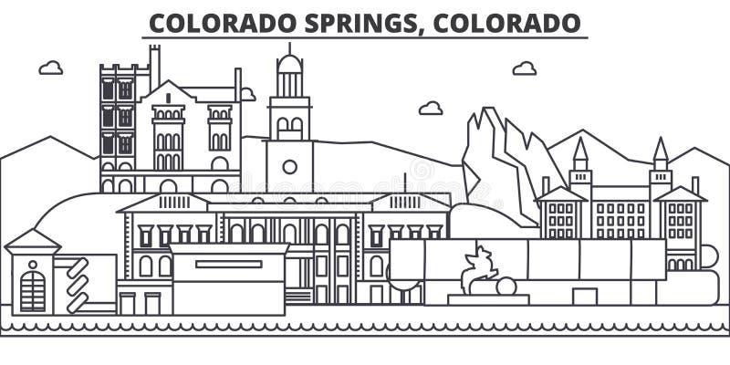Απεικόνιση οριζόντων γραμμών αρχιτεκτονικής του Colorado Springs Γραμμική διανυσματική εικονική παράσταση πόλης με τα διάσημα ορό απεικόνιση αποθεμάτων