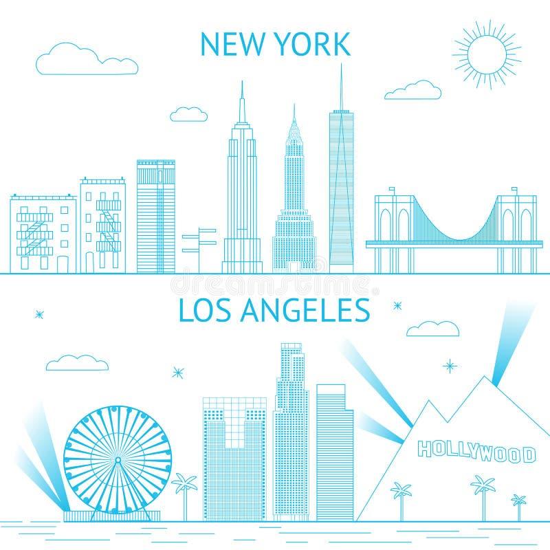 Απεικόνιση οριζόντων της Νέας Υόρκης και του Λος Άντζελες μέσα διανυσματική απεικόνιση
