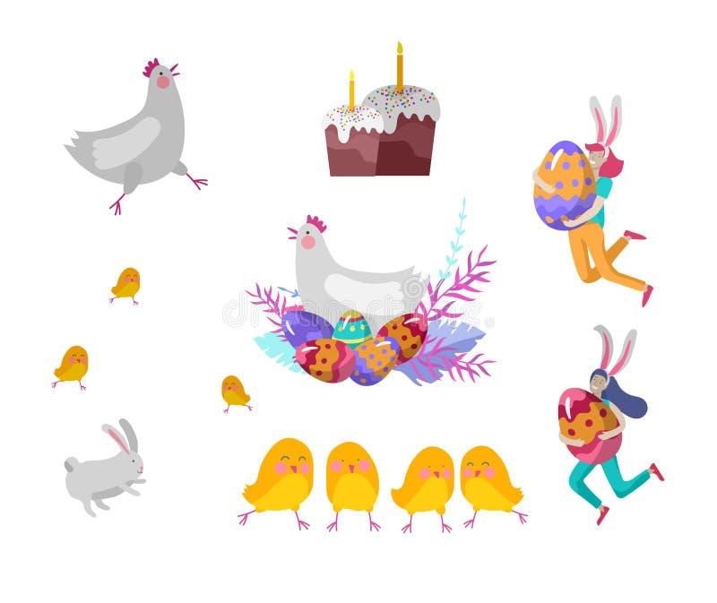 Απεικόνιση Πάσχας με τα χρωματισμένα αυγά, το κέικ, το κοτόπουλο και και το κουνέλι Τα κορίτσια με τα αυτιά λαγουδάκι κρατούν τα  διανυσματική απεικόνιση