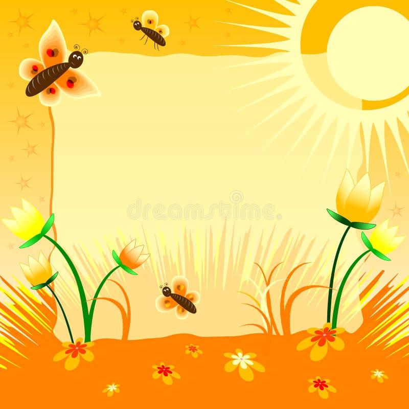 Απεικόνιση παιδιών με την ετικέτα για το κείμενο Ηλιακές τουλίπες Κίτρινο χρώμα απεικόνιση αποθεμάτων
