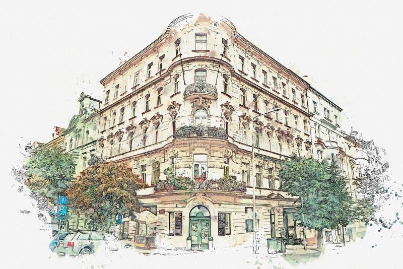 απεικόνιση Παραδοσιακή αρχαία αρχιτεκτονική στην Πράγα στοκ εικόνα