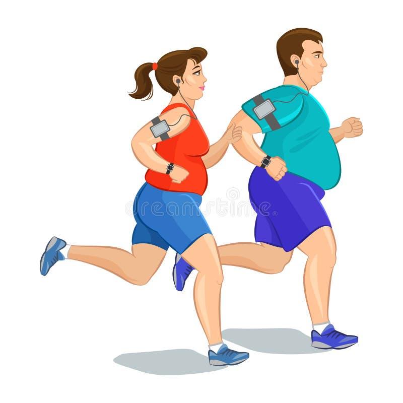 Απεικόνιση παχιοί δρομείς - τρέξιμο ζευγών απεικόνιση αποθεμάτων