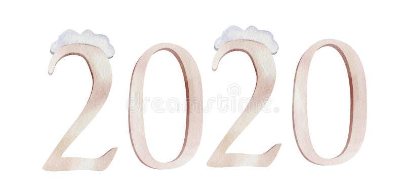 Απεικόνιση πηγών 2020 Χαρούμενα Χριστούγεννας Watercolor Απομονωμένη χειμώνας αριθμών κάρτα σχεδίου συμβόλων γράφοντας Διακοπές χ στοκ φωτογραφία με δικαίωμα ελεύθερης χρήσης