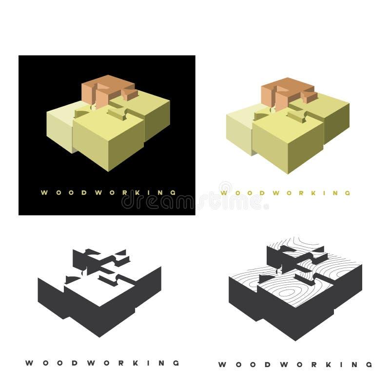 """απεικόνιση που αποτελείται από μια εικόνα ενός κομματιού του ξύλου και της επιγραφής """"ξυλουργική """" ελεύθερη απεικόνιση δικαιώματος"""