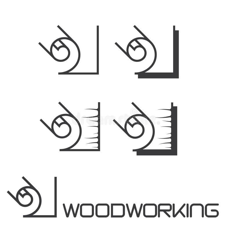 """απεικόνιση που αποτελείται από μια εικόνα ενός κομματιού του ξύλου και της επιγραφής """"ξυλουργική """" διανυσματική απεικόνιση"""