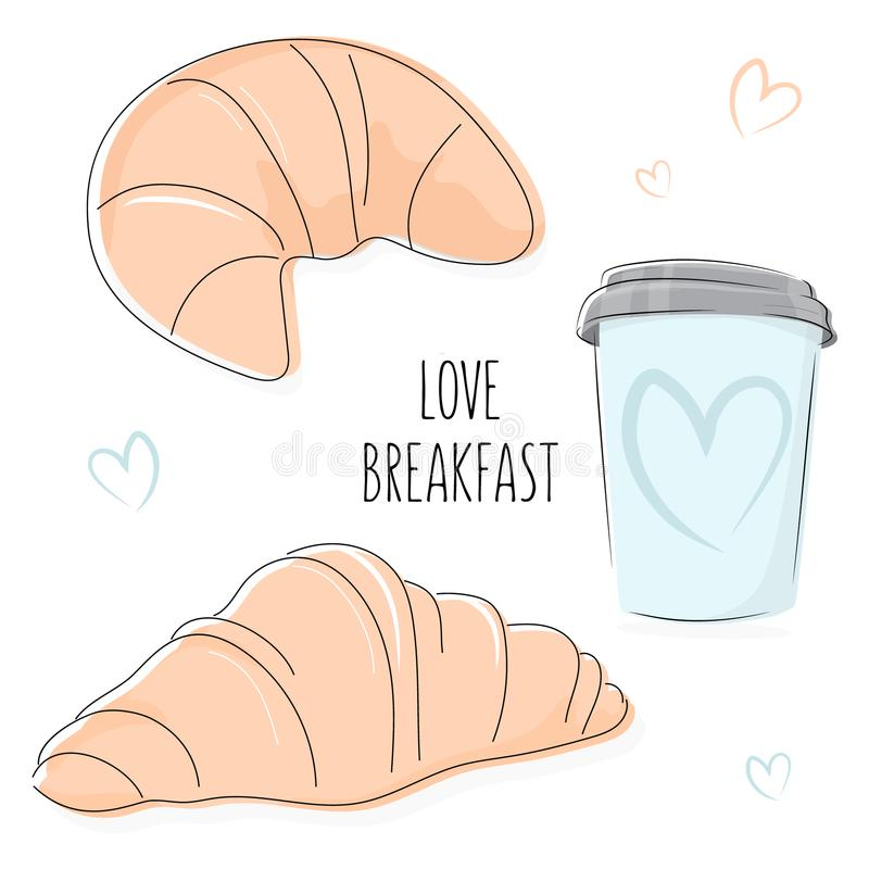 Απεικόνιση προγευμάτων αγάπης Αρτοποιείο doodles Φλυτζάνι καφέ με τη croissant και τυπωμένη ύλη slogen Διακόσμηση επιφάνειας θερι διανυσματική απεικόνιση
