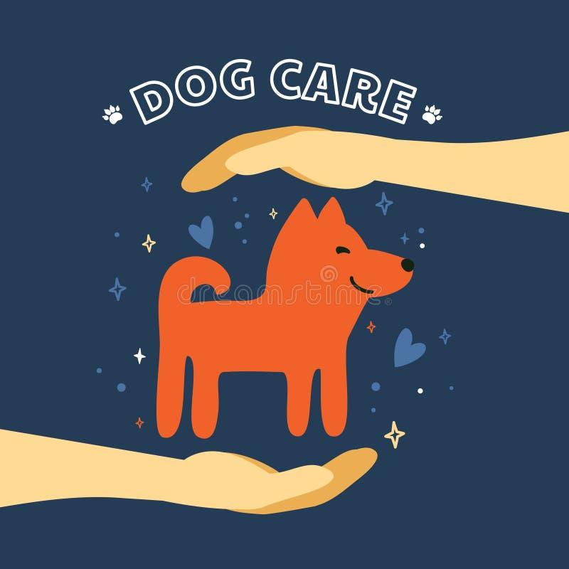 Απεικόνιση προσοχής σκυλιών Το σκυλί είναι στα ασφαλή χέρια διανυσματική απεικόνιση