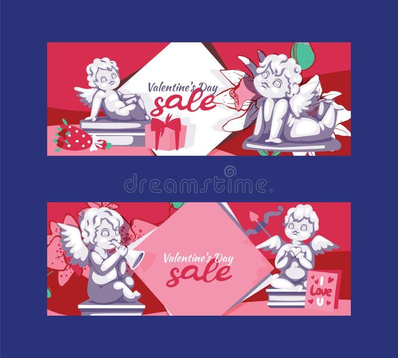 Απεικόνιση προτύπων εμβλημάτων προσφοράς πώλησης αγαλμάτων αγγέλου ημέρας βαλεντίνων Ιπτάμενο υποβάθρου εκκαθάρισης, αφίσα απεικόνιση αποθεμάτων
