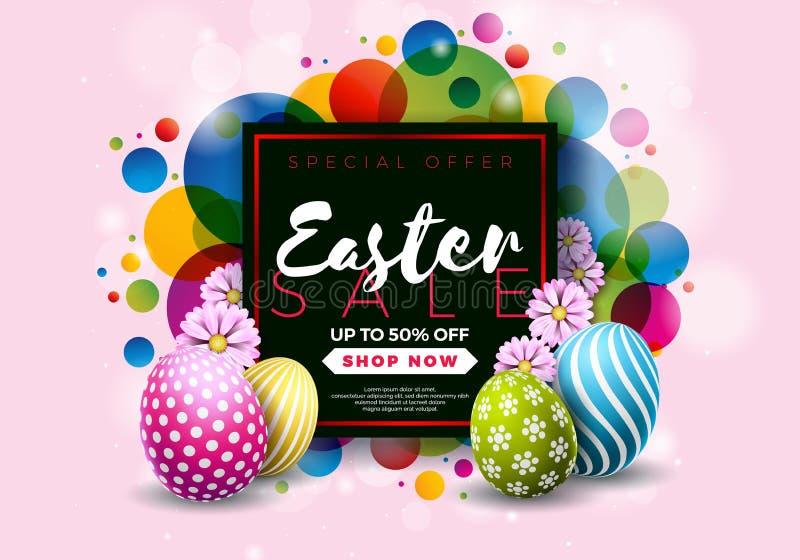 Απεικόνιση πώλησης Πάσχας με χρωματισμένο το χρώμα στοιχείο αυγών και τυπογραφίας στο αφηρημένο υπόβαθρο Διανυσματικό σχέδιο διακ ελεύθερη απεικόνιση δικαιώματος