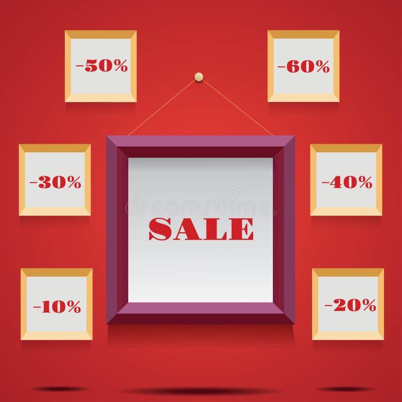 Απεικόνιση πώλησης με τα πλαίσια και τα canvases απεικόνιση αποθεμάτων