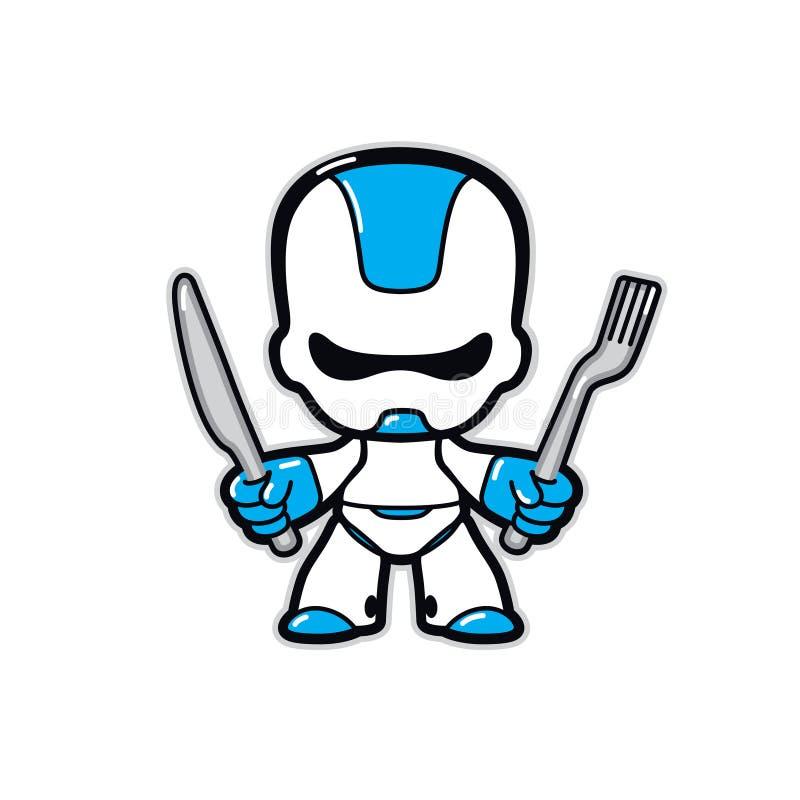Απεικόνιση ρομπότ Διάνυσμα Ρομποτικός χαρακτήρας του μέλλοντος με μαχαίρι και πιρούνι Μασκότ για καφετέρια ή εστιατόριο στον κυβε ελεύθερη απεικόνιση δικαιώματος