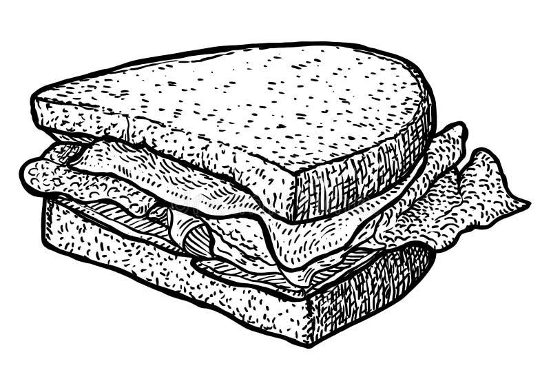 Απεικόνιση σάντουιτς, σχέδιο, χάραξη, μελάνι, τέχνη γραμμών, διάνυσμα απεικόνιση αποθεμάτων