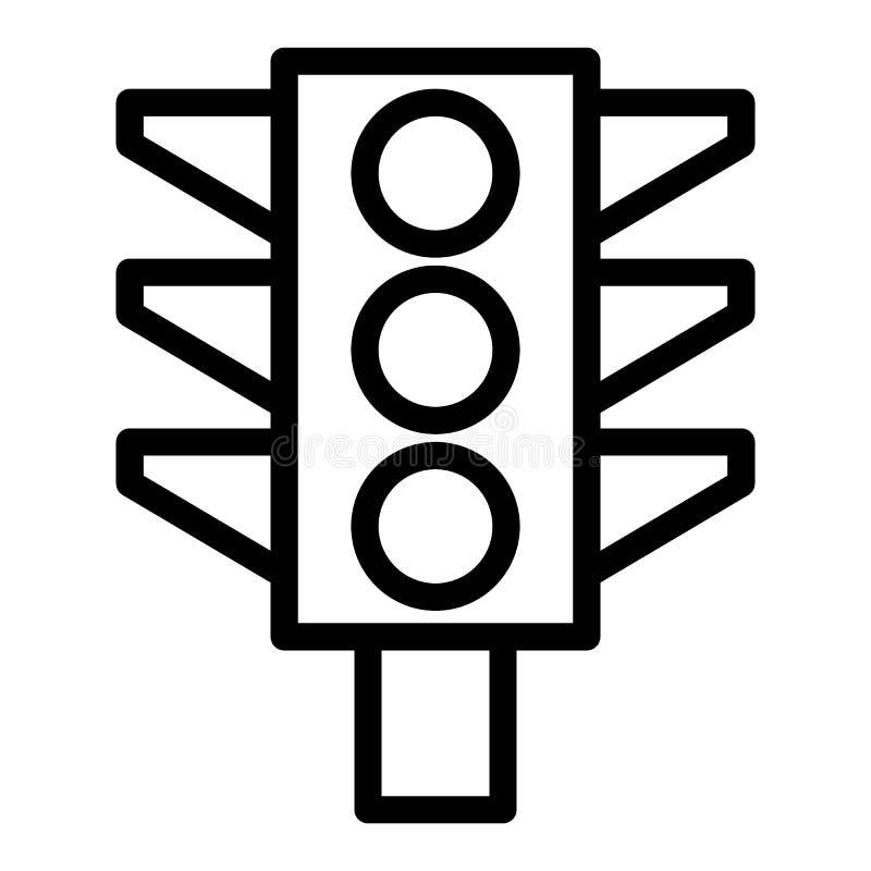 Εικονίδιο γραμμών φωτεινού σηματοδότη Απεικόνιση σημάτων κυκλοφορίας που απομονώνεται στο λευκό Σχέδιο ύφους περιλήψεων φω'των, π διανυσματική απεικόνιση