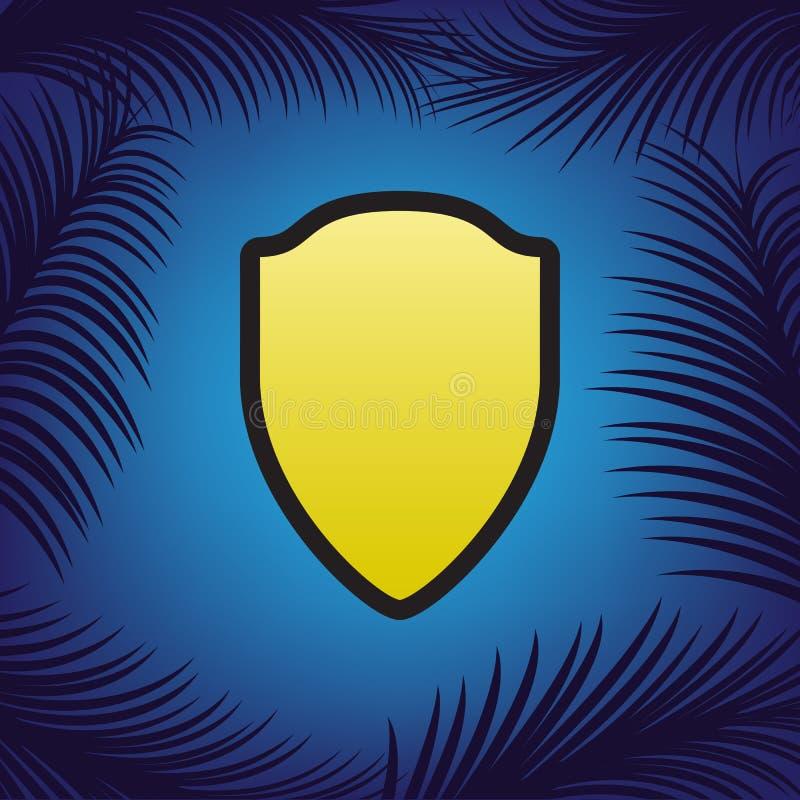 Απεικόνιση σημαδιών ασπίδων διάνυσμα Χρυσό εικονίδιο με το μαύρο περίγραμμα διανυσματική απεικόνιση