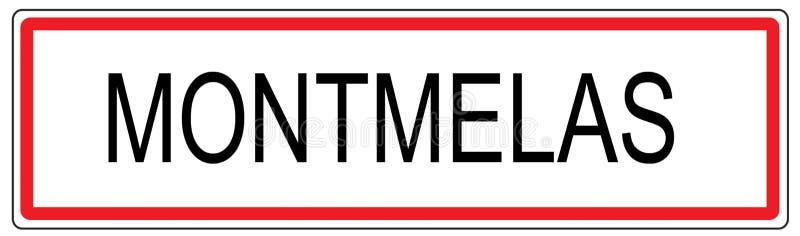 Απεικόνιση σημαδιών κυκλοφορίας πόλεων Montmelas στη Γαλλία απεικόνιση αποθεμάτων