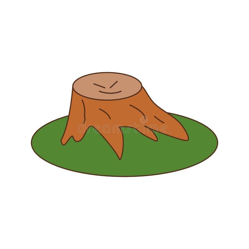 Απεικόνιση σκίτσου με επίπεδο διανύσματος ενός πριονισμένου δέντρου σε πράσινο γκαζόν Καβάι στουμπί χαμόγελα, νεύμα διανυσματική απεικόνιση