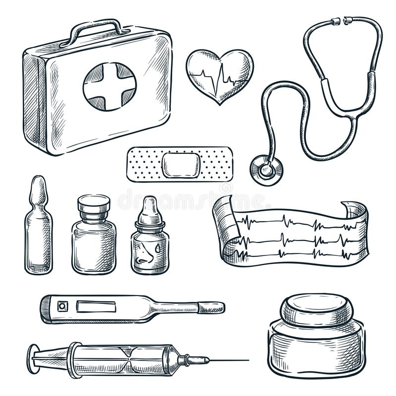 Απεικόνιση σκίτσων εξαρτήσεων πρώτων βοηθειών Συρμένα εικονίδια ιατρικής και υγειονομικής περίθαλψης χέρι και στοιχεία σχεδίου απεικόνιση αποθεμάτων