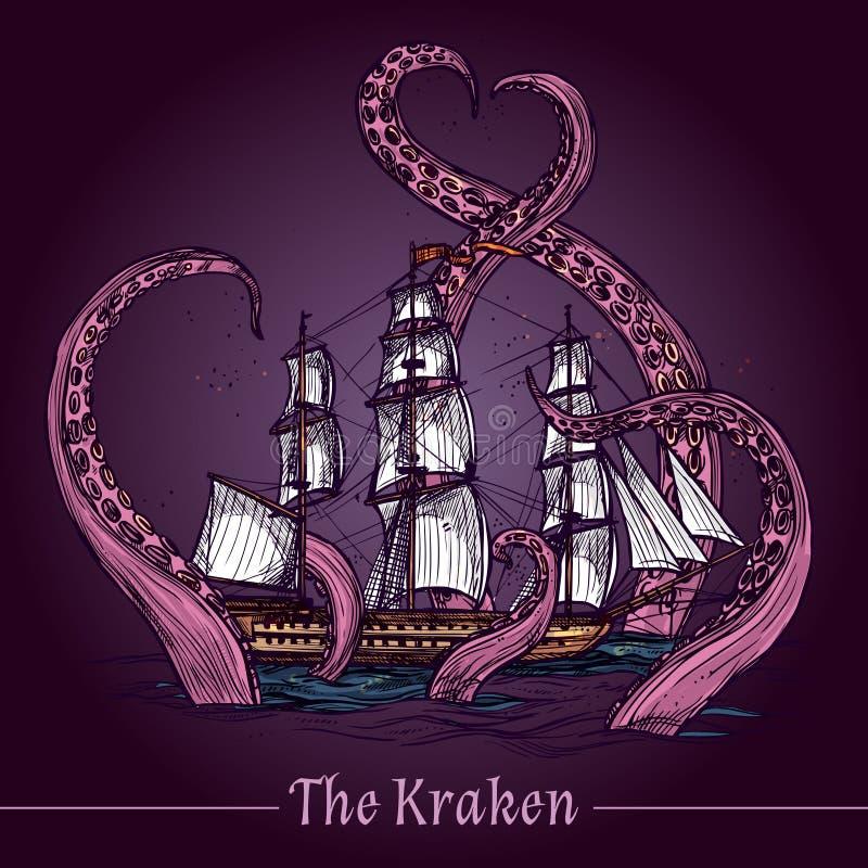 Απεικόνιση σκίτσων Kraken διανυσματική απεικόνιση