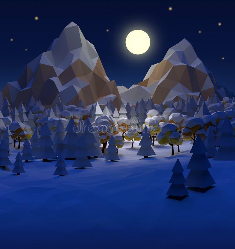 Απεικόνιση/σκηνή τοπίων νύχτας χειμερινών Χριστουγέννων διανυσματική απεικόνιση