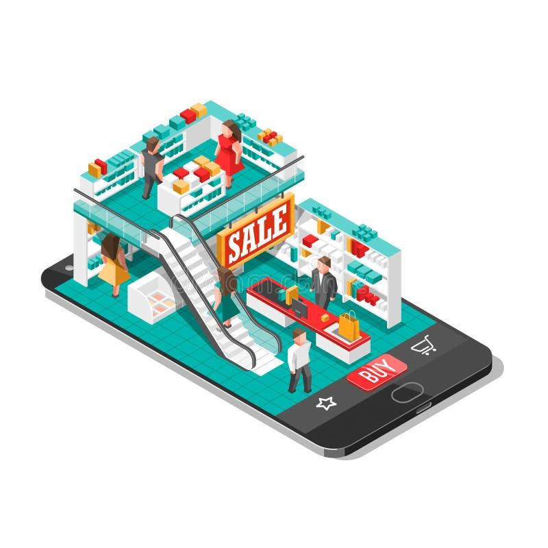 Απεικόνιση σκιών on-line αγορών isometric με το κινητό τηλεφωνικό κατάστημα διανυσματική απεικόνιση