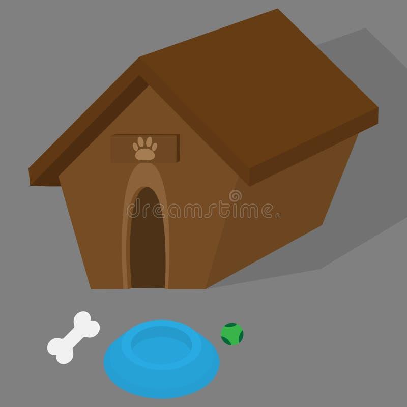 Απεικόνιση σπιτιών σκυλιών με το πιάτο για το γεύμα σκυλιών, τη σφαίρα παιχνιδιών και το κόκκαλο διανυσματική απεικόνιση