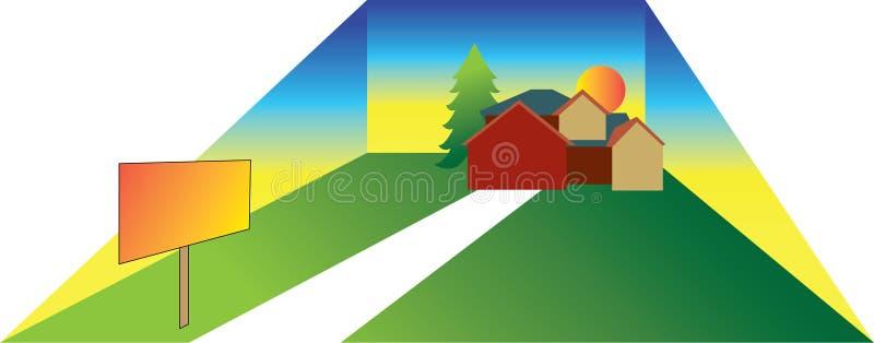 Απεικόνιση σπιτιών Lage με το σημάδι διανυσματική απεικόνιση