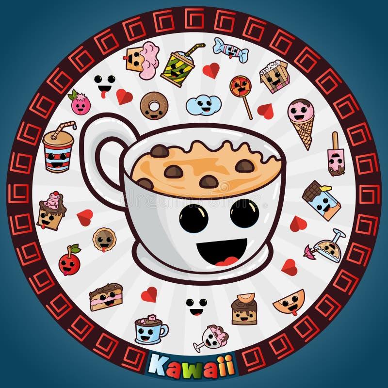 Απεικόνιση στα χαριτωμένα συμπαθητικά, καλά σχέδια ύφους Kawaii στην κυκλική διακόσμηση, τα γλυκά τρόφιμα ζύμης και τα ποτά, σχέδ διανυσματική απεικόνιση