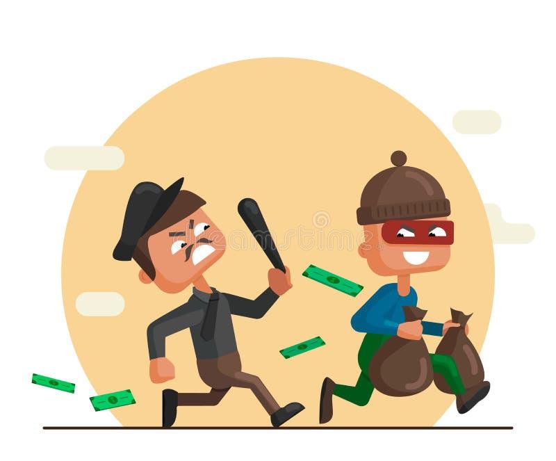 Διανυσματική απεικόνιση κινούμενων σχεδίων ενός αστυνομικού και ενός κλέφτη ελεύθερη απεικόνιση δικαιώματος