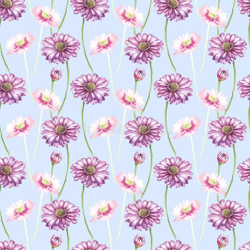Απεικόνιση στο watercolor ενός λουλουδιού Gerbera Floral κάρτα με τα λουλούδια Βοτανικό άνευ ραφής σχέδιο απεικόνισης ελεύθερη απεικόνιση δικαιώματος