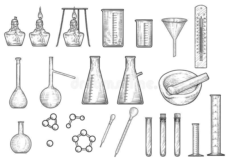 Απεικόνιση συλλογής εξοπλισμών χημείας ή φυσικής, σχέδιο, χάραξη, μελάνι, τέχνη γραμμών, διάνυσμα ελεύθερη απεικόνιση δικαιώματος
