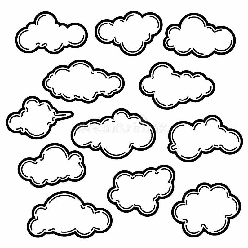 Απεικόνιση σχεδίου σύννεφων συλλογής, σύννεφο υποβάθρου, πρότυπο ύφους γραμμών διανυσματική απεικόνιση