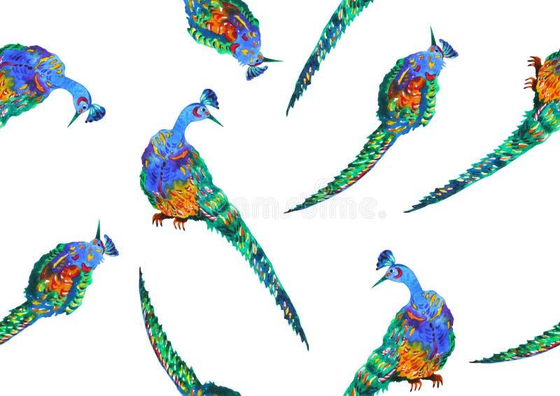 Απεικόνιση σχεδίου σχεδίων χεριών ζωγραφικής watercolor σχεδίων peacock απεικόνιση αποθεμάτων