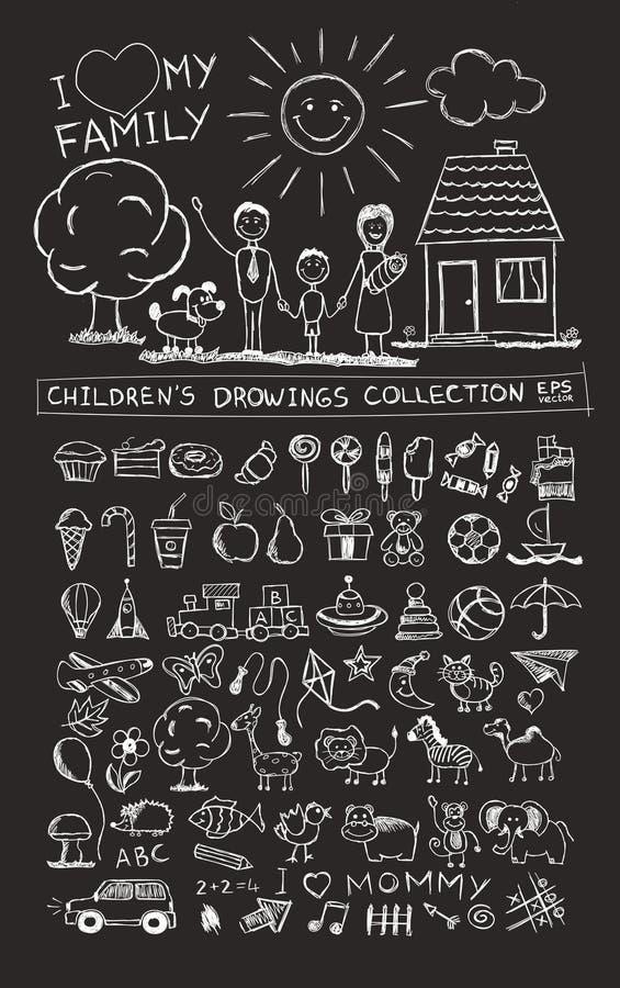 Απεικόνιση σχεδίων χεριών παιδιών της ευτυχούς οικογένειας με τα παιδιά κοντά στο σπίτι, τον ήλιο και το σκυλί διανυσματική απεικόνιση