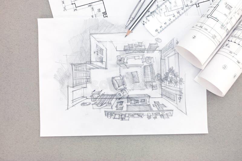 Απεικόνιση σχεδίων χεριών του εσωτερικού καθιστικών με το σχεδιάγραμμα στοκ φωτογραφία με δικαίωμα ελεύθερης χρήσης