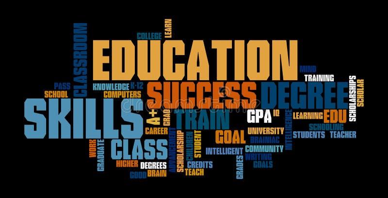 Απεικόνιση σύννεφων ετικεττών του Word εκπαίδευσης ελεύθερη απεικόνιση δικαιώματος