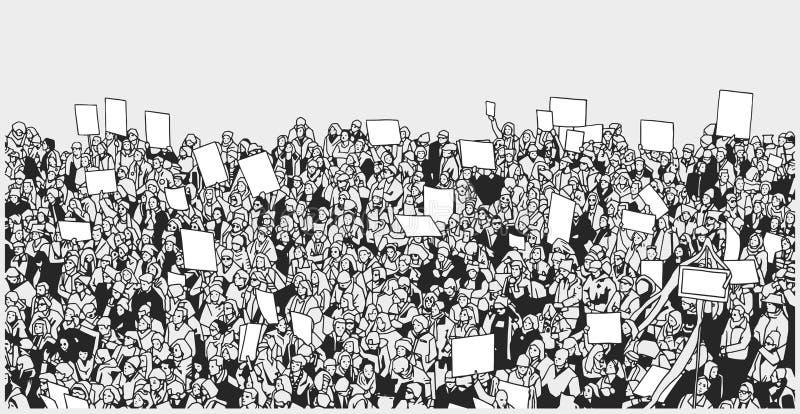Απεικόνιση τέχνης γραμμών της διαμαρτυρίας πλήθους με τα κενά σημάδια ελεύθερη απεικόνιση δικαιώματος