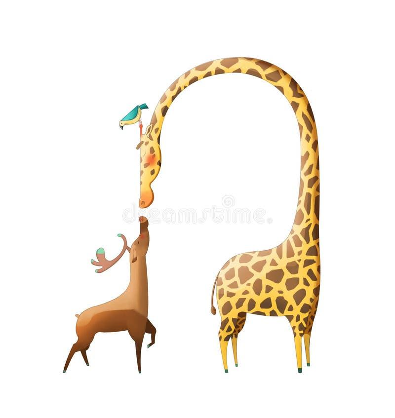 Απεικόνιση: Τα καταπληκτικά ελάφια και Giraffe που απομονώνονται στο άσπρο υπόβαθρο απεικόνιση αποθεμάτων