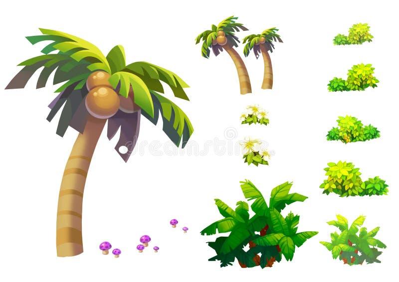 Απεικόνιση: Τα φανταστικά τροπικά στοιχεία/τα αντικείμενα παραλιών θέτουν 1 Δέντρο καρύδων, χλόη, μανιτάρι, κ.λπ. διανυσματική απεικόνιση