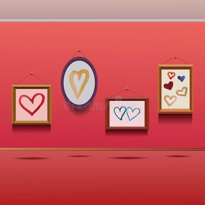 Απεικόνιση τεσσάρων canvases με τα πλαίσια με συρμένες τις χέρι καρδιές watercolor σε τους ελεύθερη απεικόνιση δικαιώματος