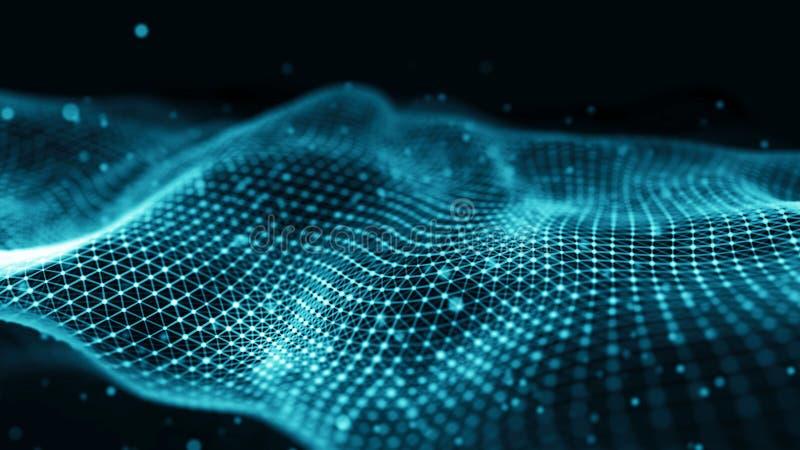Απεικόνιση τεχνολογίας στοιχείων Κύμα με τη σύνδεση των σημείων και των γραμμών στο σκοτεινό υπόβαθρο Κύμα των μορίων τρισδιάστατ ελεύθερη απεικόνιση δικαιώματος