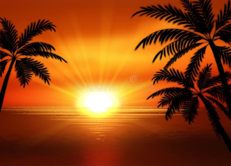 Απεικόνιση της άποψης ηλιοβασιλέματος στην παραλία με το φοίνικα τοπίο τροπικό ελεύθερη απεικόνιση δικαιώματος