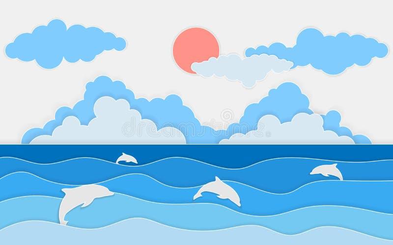 Απεικόνιση της άποψης θάλασσας με το δελφίνι και τα σύννεφα Περικοπή εγγράφου και ύφος τεχνών Θερινό υπόβαθρο με τα κύματα εγγράφ απεικόνιση αποθεμάτων