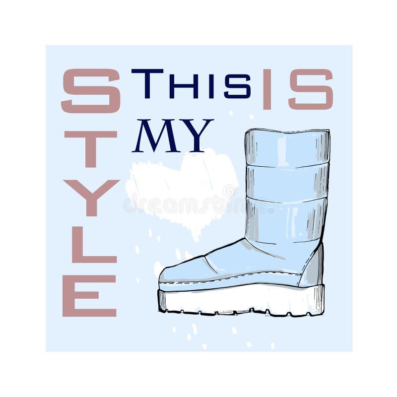 Απεικόνιση της αφίσας πηγών με τα παπούτσια χειμερινών γυναικών Γραφικά τοπ υποδήματα άποψης για το θηλυκό και την κυρία Σχέδιο μ απεικόνιση αποθεμάτων