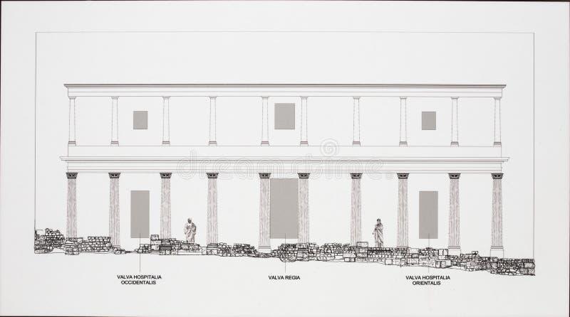 Απεικόνιση της εξωτερικής πρόσοψης του σκηνικού μετώπου σε Ρωμαίο στοκ εικόνα