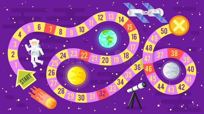 Απεικόνιση της επιστήμης παιδιών και του διαστημικού επιτραπέζιου παιχνιδιού στοκ εικόνες
