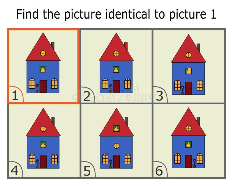 Απεικόνιση της εύρεσης δύο ίδιων εικόνων Εκπαιδευτικό παιχνίδι για τα παιδιά Σπίτι κινούμενων σχεδίων Βρείτε το ίδιο πράγμα διανυσματική απεικόνιση