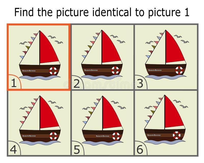 Απεικόνιση της εύρεσης δύο ίδιων εικόνων Εκπαιδευτικό παιχνίδι για τα παιδιά Βρείτε το ίδιο πράγμα Παιχνίδι λογικής ελεύθερη απεικόνιση δικαιώματος