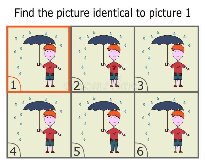 Απεικόνιση της εύρεσης δύο ίδιων εικόνων Παιχνίδι λογικής για τα παιδιά ελεύθερη απεικόνιση δικαιώματος