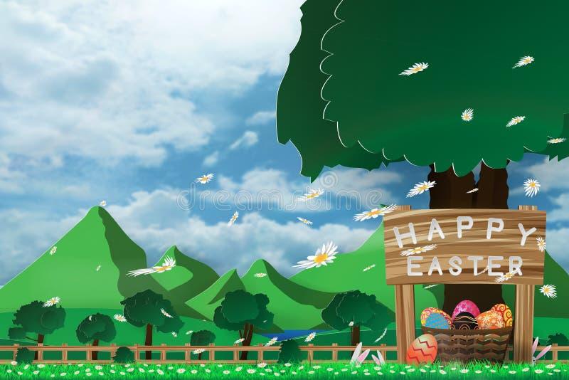 Απεικόνιση της ημέρας Πάσχας με ένα αυγό στο καλάθι στο πράσινο ανθίζοντας λουλούδι χλόης και το μπλε ουρανό με το βουνό και το υ διανυσματική απεικόνιση